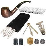 CESFONJER Pipa de Fumar de Material de palo de rosa negro, Pipas de Tabaco de Sándalo con Limpiadores de Pipa, Filtros...
